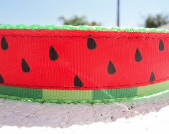"""Sale,Watermelon Dog Collar, Quick Release buckle, or, Martingale collar, 1"""" wide adjustable  S - XXL - incl dogs  neck measurement/s"""