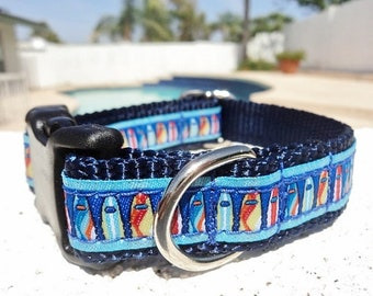 """Surf Beach,Small Dog Collar,Surfboards, 3/4"""" wide, Quick Release buckle, incl dogs neck size -upgrade to Martingale/no ribbon for 1"""" collar"""