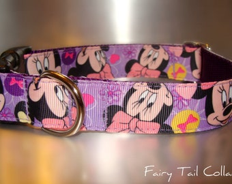 """Disney Minnie Mouse, Lavender 3/4"""" or 1"""" width Quick Release buckle collar adjustable - upgrade to martingale -state  dogs neck measurement"""