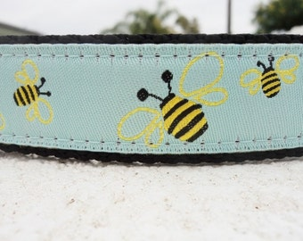 """Dog Collar Honey Bee, 1"""" width ,Side Release collar, or, Martingale collar, - include dogs neck measurement, see size guide & info. within"""
