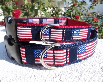 """American Flag Dog Collar, 3/4"""" or 1"""" ,Quick Release buckle, - Include dogs neck measurement - No martingale - sizes S -XL"""