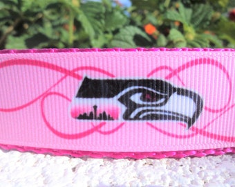 "Pink Seattle Seahawks, Dog Collar, 1"" width ,Side Release, buckle or ,Martingale collar, style"