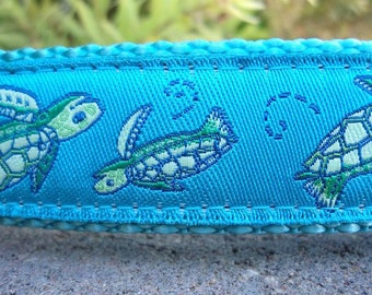 """Dog collar, Quick release buckle, Sea Turtles, 1"""" width adjustable - see description details within. Include dogs neck measurement"""
