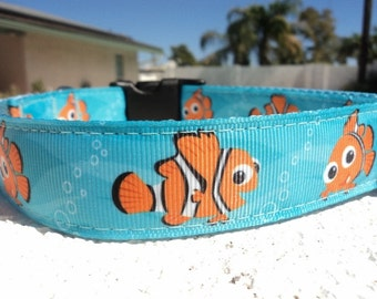 """Sale Disney Nemo Dog Collar in 3/4"""" or 1"""" width Quick Release or Martingale collar adjustable, incl dogs neck measurement"""