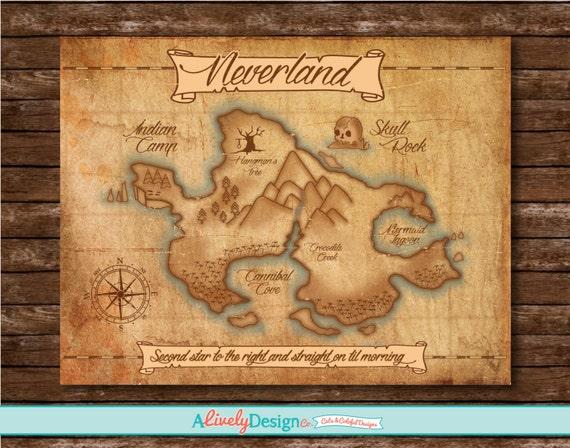 Neverland Map Nursery Decor Child S Room Decor Etsy