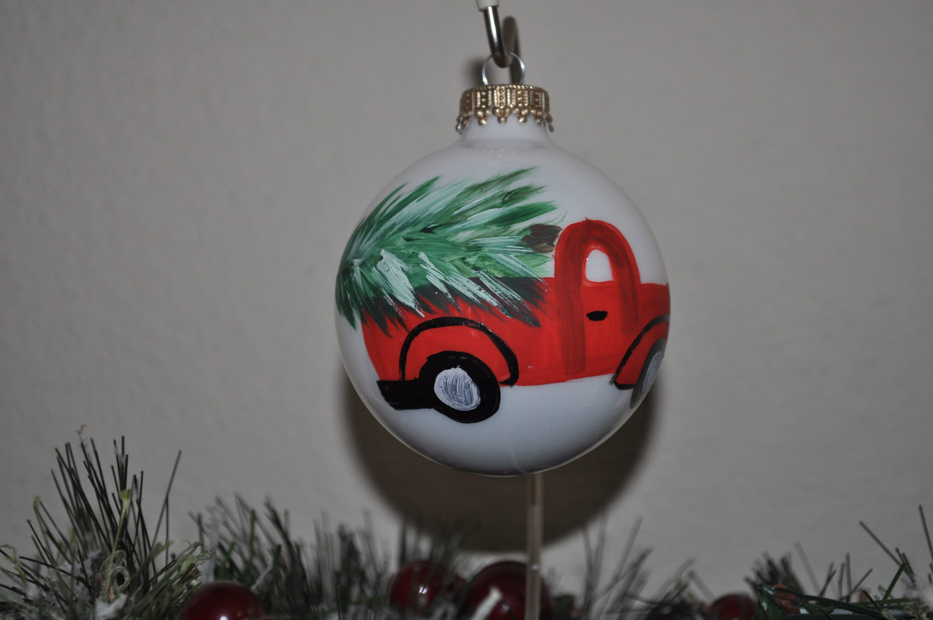 Hand Painted Glass Christmas Country Ornaments Etsy