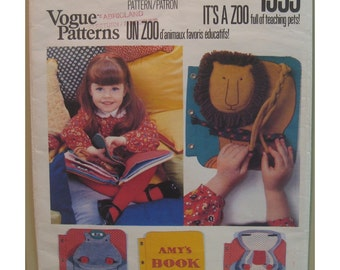 Funky Zoo Animals Soft Book SEWING Pattern Wonderful Childrens Learning Aid Vogue No 1959 UNCUT Size 9x8 Inches23x20 Cm