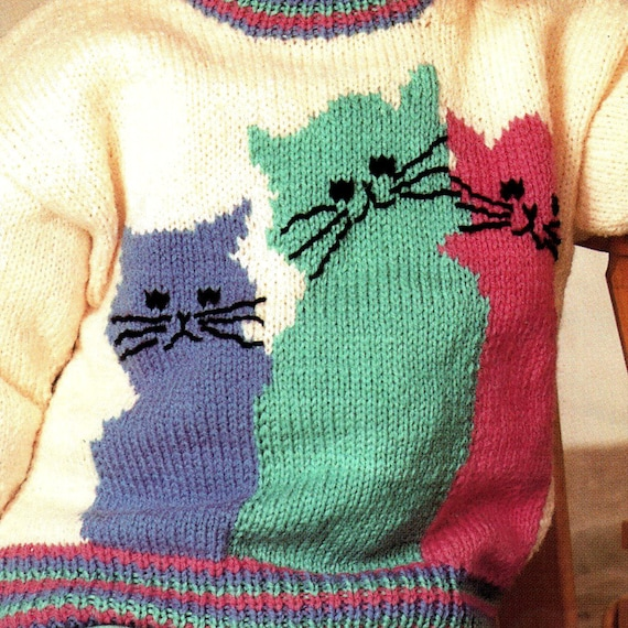 Childrens Cat Sweater Knitting Pattern Rocking Horse Etsy