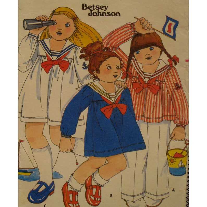 5f75c246c Betsey Johnson Childs Sailor Dress Pattern Yoke Gathered | Etsy