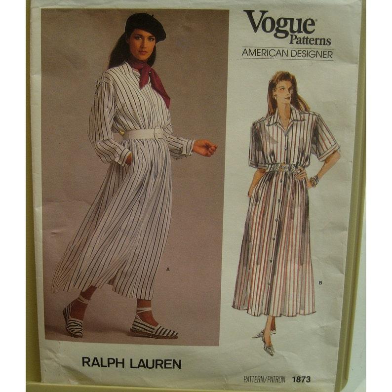 80s Ralph Lauren Shirt Dress Pattern, Button Front, Notched Collar, Blouson Bodice, Long Sleeves, Vogue American Designer No. 1873 Size 12