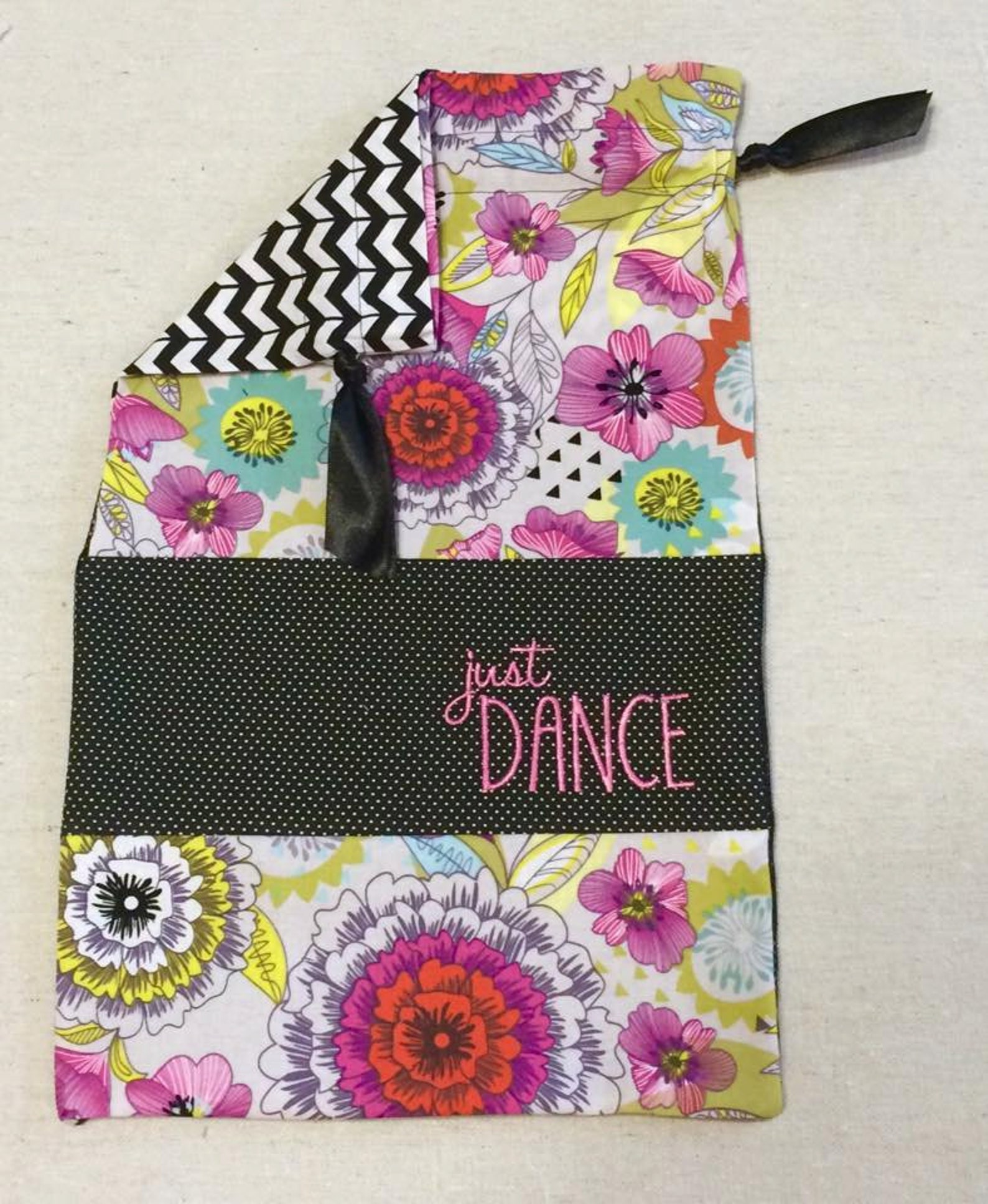 item(j3) personalized dance shoe bag just dance chevron pink floral black mesh ballet pointe jazz tap