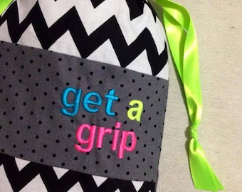 Item(G1) Personalized Gymnastics Grip Bag Get a Grip Neon