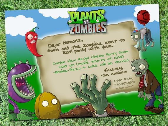 Plantas Vs Zombies Parte Invitación Descarga Digital
