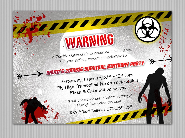 Zombie Invitation Digital Download   Etsy