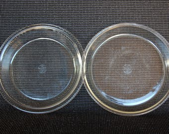 Set of 2 Early Dollar Sign 9 Inch Pyrex Pie Plates 9 inch Original Pyrex 203 and 209 Clear Pyrex  Corning Glass  Marks circa 1921-1938 & Set of 2 Early Dollar Sign Mark Pyrex 9 inch Pie Plates