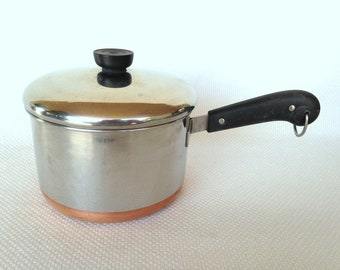 Vintage Revere Ware 3 Quart Process Patent Copper Clad Stainless Steel Covered Saucepan RIVERSIDE, California circa 1953-1968