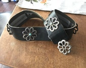 Vintage sand cast silver and turquoise concho belt