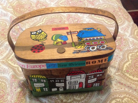 Groovy hand painted and signed basket box purse