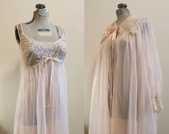 Lingerie Set Wedding Bridal pink chiffon lace sleep night gown pinup  babydoll Formfit Rogers 36 M a21389b14