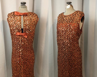 1960s vintage Mod sequined dress Orange Copper and silk satin bows L Elinor Gay