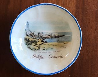 Halifax Nova Scotia Canada Peggy's Cove travel souvenir plate dish vintage 1940s