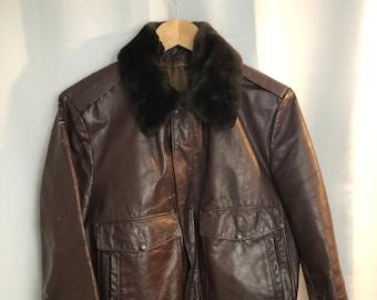 1960s vintage distressed leather Bomber Jacket fur collar brown 40 L