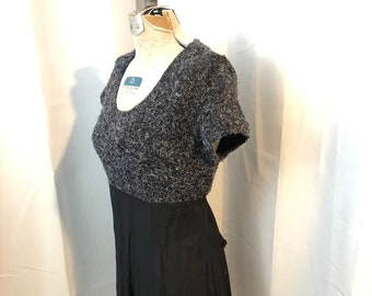 90s vintage baby doll dress black and grey mohair sweater Byer Too L