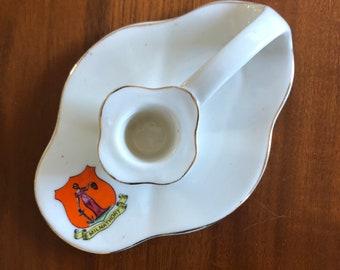 Milnathort Scotland souvenir porcelain candleholder Arkinstall and Sons 1960s