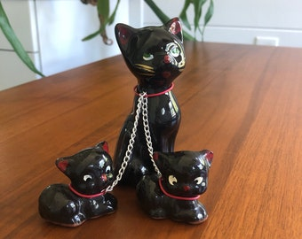 1950s vintage chained Cats Black Cat and Kittens witch animal figurine with leash