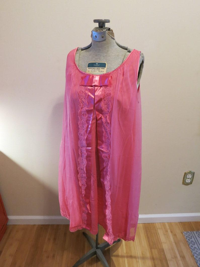 354035d2e4f Vanity Fair lingerie vintage 1960s hot pink sheer nightie baby