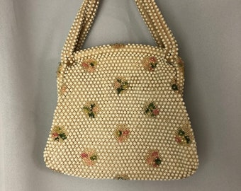 1950s Plastic Dot Beaded Purse pastel Floral embroidered White handbag