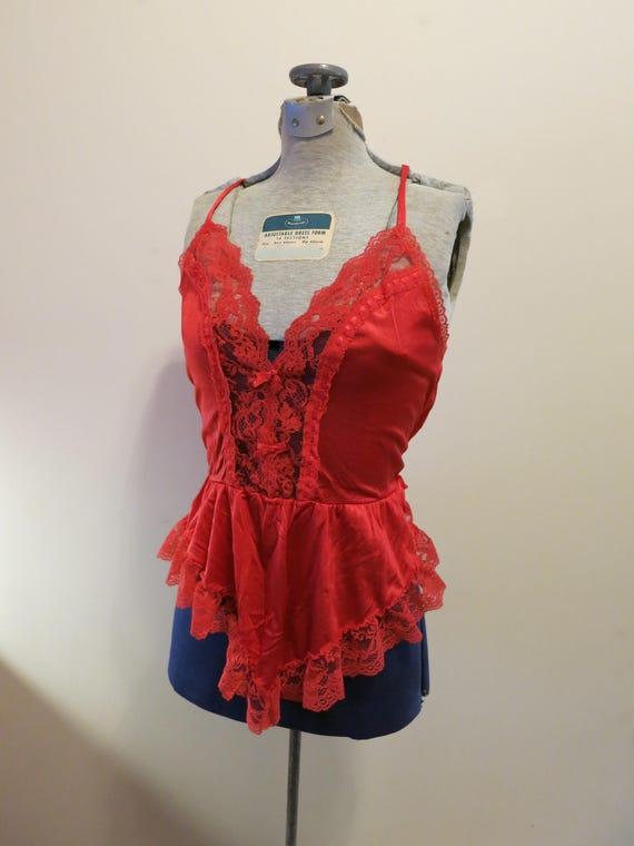 Fredrick de Hollywood Teddy rouge satin Combi des années 1970 pinup fétiche lingerie babydoll S