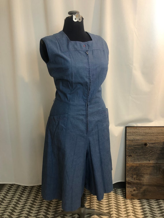 1950s chambray denim dress coverall culottes jumps
