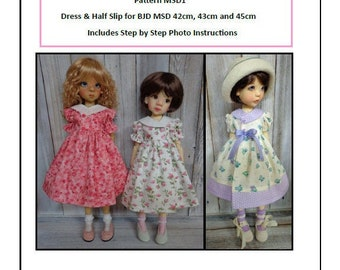Pattern MSD1 Dress and Half Slip for BJD MSD Fit to Kaye Wiggs MSD 45cm and 43cm and Tracy P 42cm