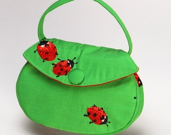 Green Ladybug Button Bag