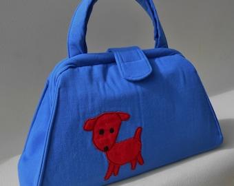 Dog Applique Royal Blue Handbag