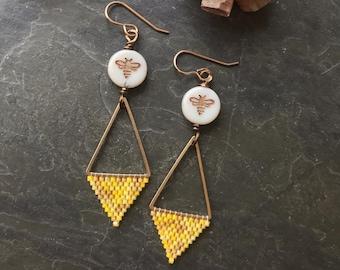 Honey bee woven geometric earrings