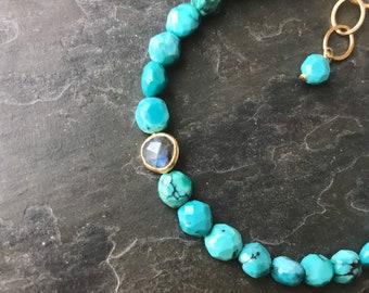 Turquoise and Labradorite Bracelet