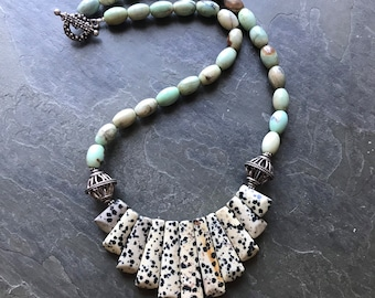Fire Agate and Dalmatian Jasper Statement Necklace with Bali Silver