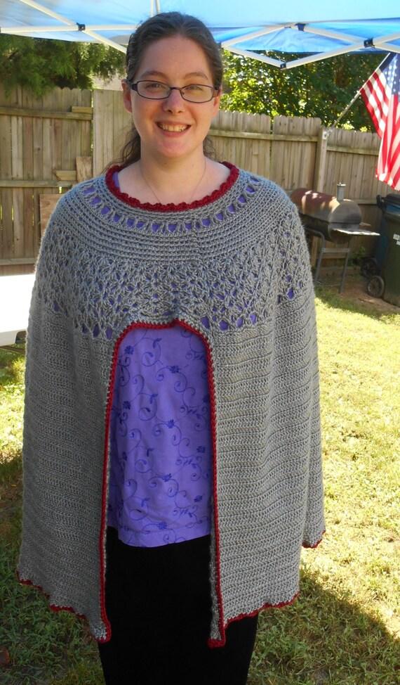 Pdf Crochet Pattern Poncho Shoulder Cape Cloak For Sca Etsy