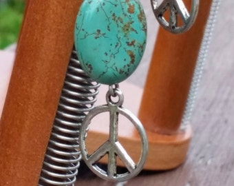 Peace Sign Earrings - Silver With Green and Brown Stone