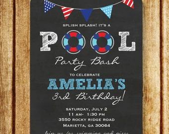 Pool Party Invitation; Pool Birthday Party; Splish Splash Invitation; Red, white and blue invitation