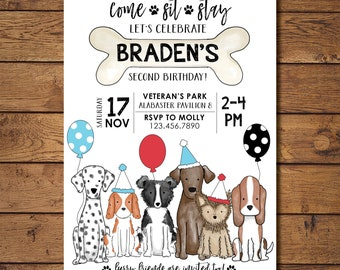 Puppy Dog Themed Birthday Party Invitation