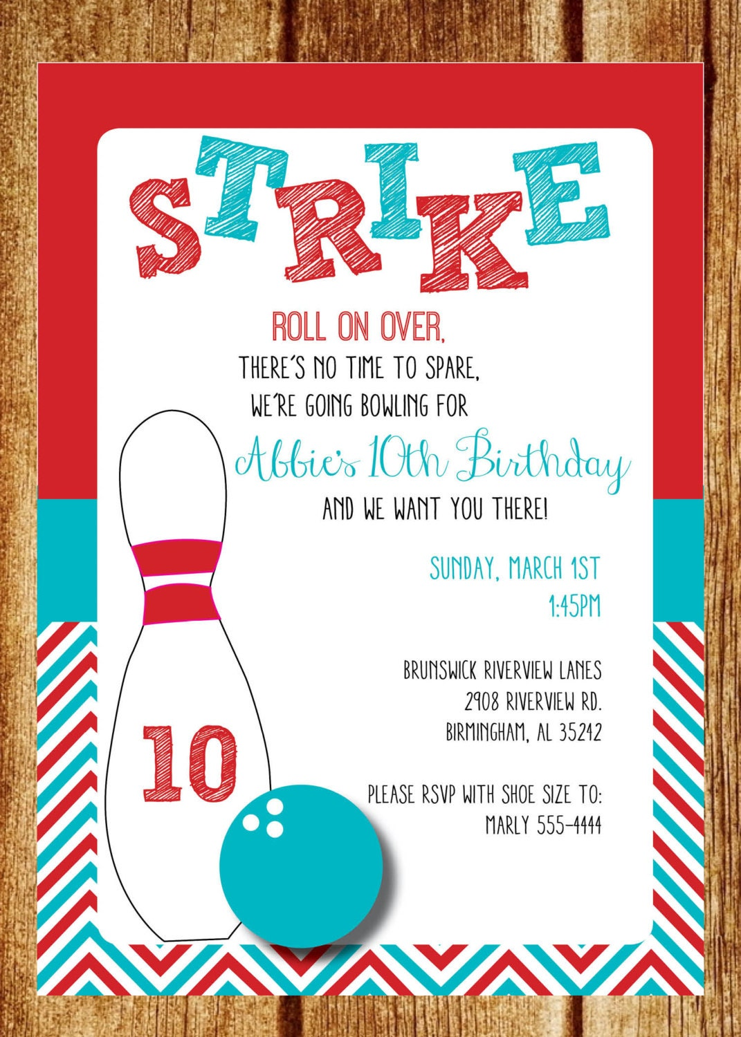 Red and Turquoise Bowling Birthday Party Invitation Custom | Etsy