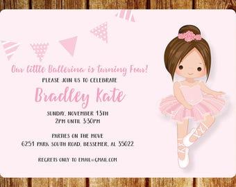 Ballerina Birthday Party Invitation- Pink- Digital File