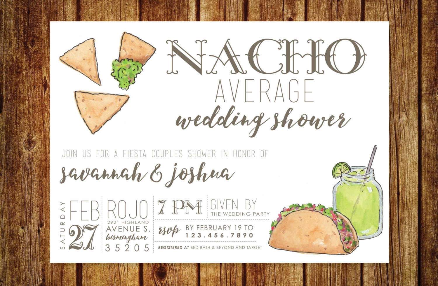 Nacho Average Wedding Shower Invitation Fiesta Wedding