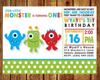 Little Monster Birthday Party Invitation; Printable Custom Monster Birthday Invitation; Digital File