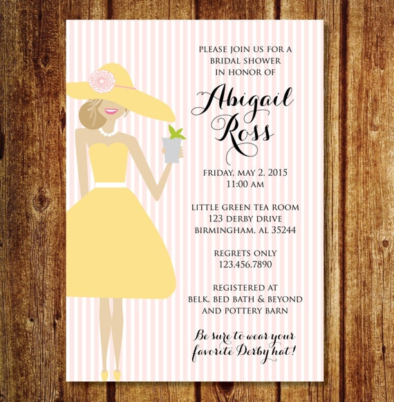 Derby Bridal Shower Invitation Kentucky Derby Hat Bridal