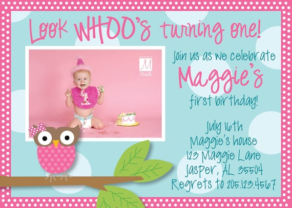 Owl Birthday Invitation Pink And Turquoise Girl