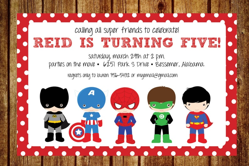 Superhero Birthday Invitation Custom